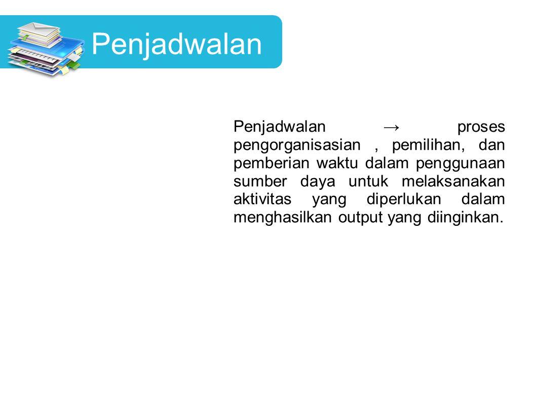 Penjadwalan Penjadwalan → proses pengorganisasian, pemilihan, dan pemberian waktu dalam penggunaan sumber daya untuk melaksanakan aktivitas yang diper