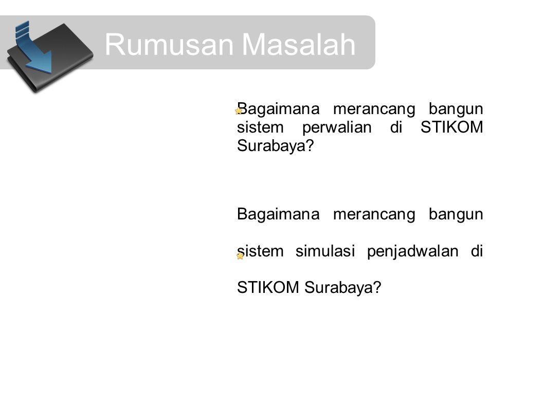 Rumusan Masalah Bagaimana merancang bangun sistem perwalian di STIKOM Surabaya? Bagaimana merancang bangun sistem simulasi penjadwalan di STIKOM Surab