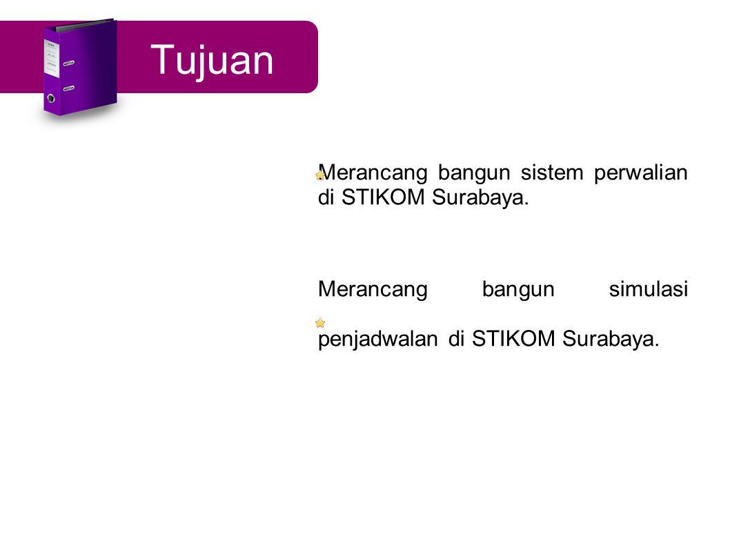 Tujuan Merancang bangun sistem perwalian di STIKOM Surabaya. Merancang bangun simulasi penjadwalan di STIKOM Surabaya.