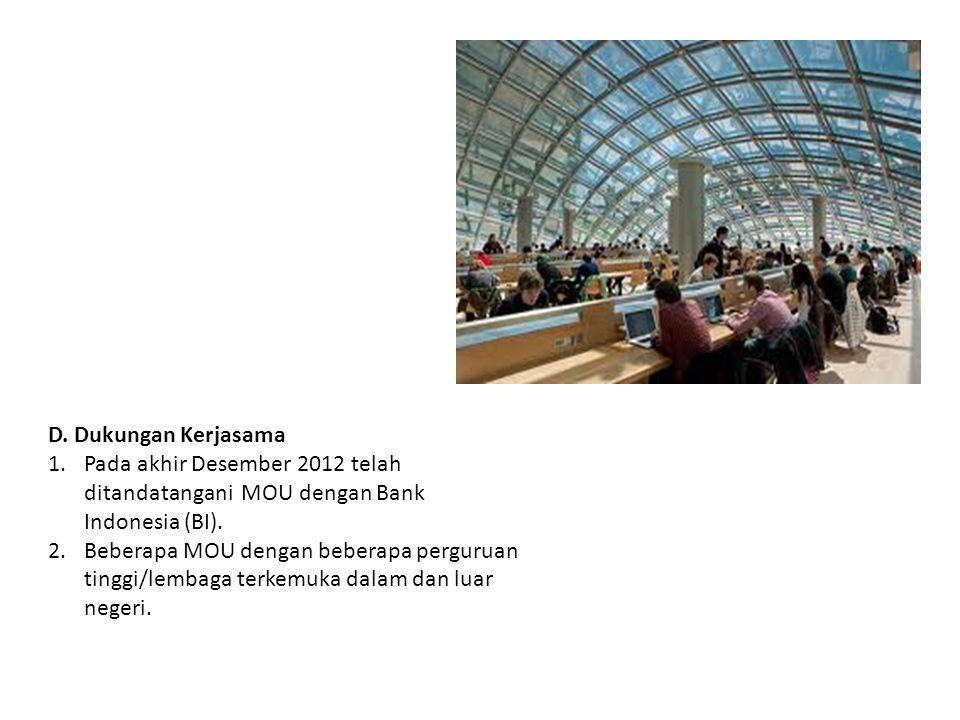 D. Dukungan Kerjasama 1.Pada akhir Desember 2012 telah ditandatangani MOU dengan Bank Indonesia (BI). 2.Beberapa MOU dengan beberapa perguruan tinggi/