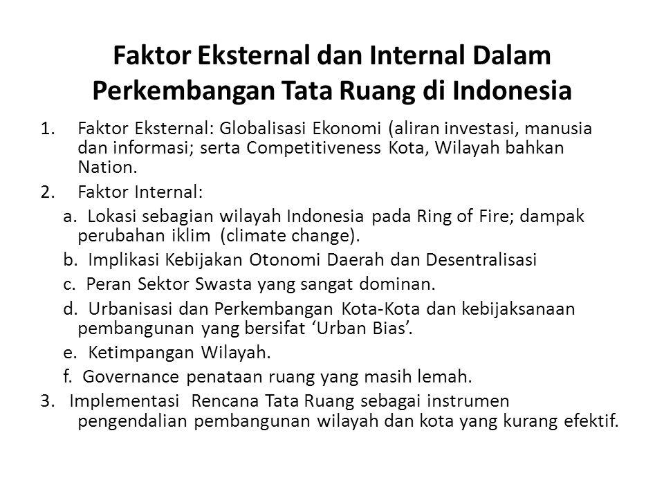 Faktor Eksternal dan Internal Dalam Perkembangan Tata Ruang di Indonesia 1.Faktor Eksternal: Globalisasi Ekonomi (aliran investasi, manusia dan inform