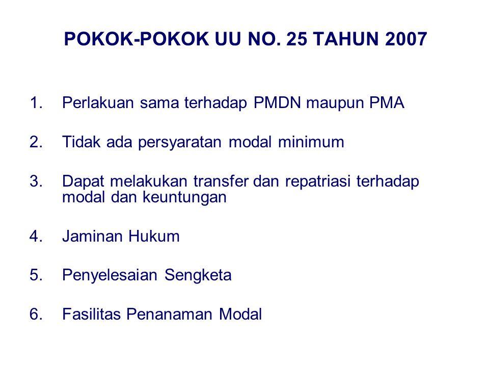 POKOK-POKOK UU NO. 25 TAHUN 2007 1.Perlakuan sama terhadap PMDN maupun PMA 2.Tidak ada persyaratan modal minimum 3.Dapat melakukan transfer dan repatr