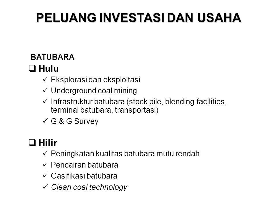 PELUANG INVESTASI DAN USAHA  Hulu Eksplorasi dan eksploitasi Underground coal mining Infrastruktur batubara (stock pile, blending facilities, termina