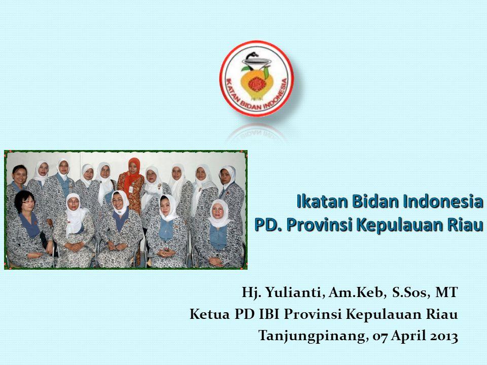 Hj. Yulianti, Am.Keb, S.Sos, MT Ketua PD IBI Provinsi Kepulauan Riau Tanjungpinang, 07 April 2013