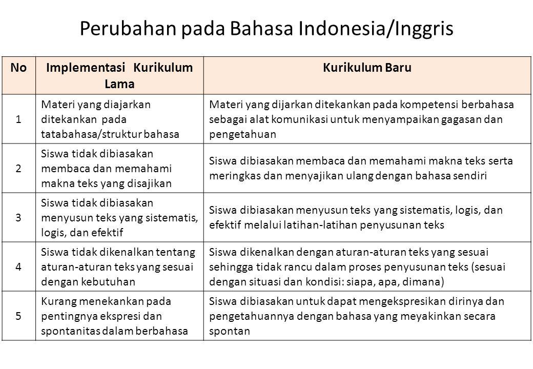 Perubahan pada Bahasa Indonesia/Inggris NoImplementasi Kurikulum Lama Kurikulum Baru 1 Materi yang diajarkan ditekankan pada tatabahasa/struktur bahas
