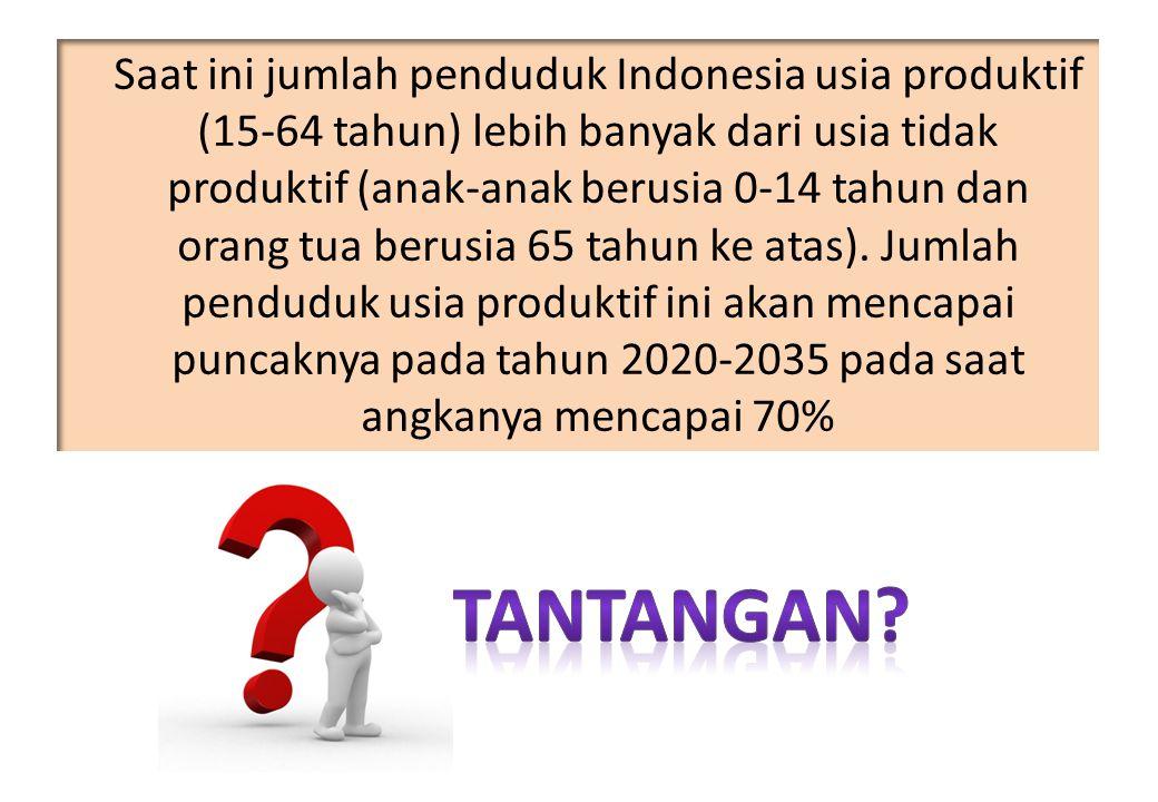 Saat ini jumlah penduduk Indonesia usia produktif (15-64 tahun) lebih banyak dari usia tidak produktif (anak-anak berusia 0-14 tahun dan orang tua ber