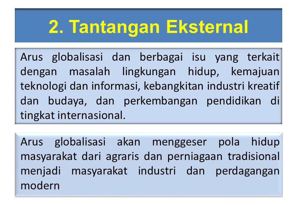 2. Tantangan Eksternal Arus globalisasi dan berbagai isu yang terkait dengan masalah lingkungan hidup, kemajuan teknologi dan informasi, kebangkitan i