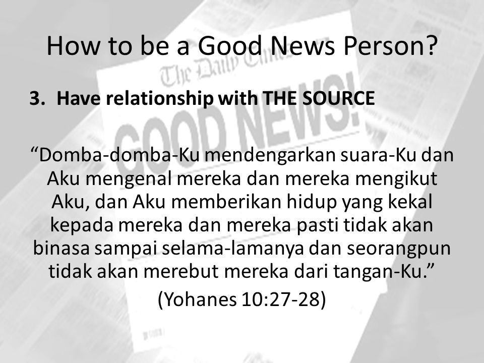 How to be a Good News Person.