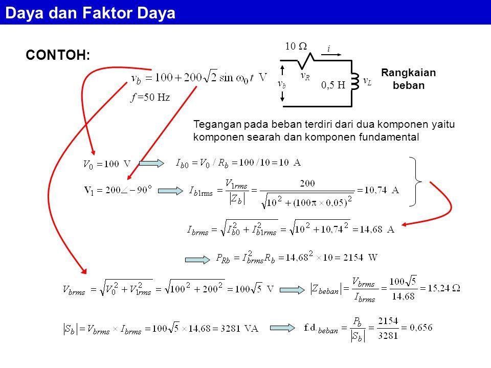 CONTOH: f =50 Hz Tegangan pada beban terdiri dari dua komponen yaitu komponen searah dan komponen fundamental 0,5 H 10  i vRvR vLvL vbvb Rangkaian beban Daya dan Faktor Daya