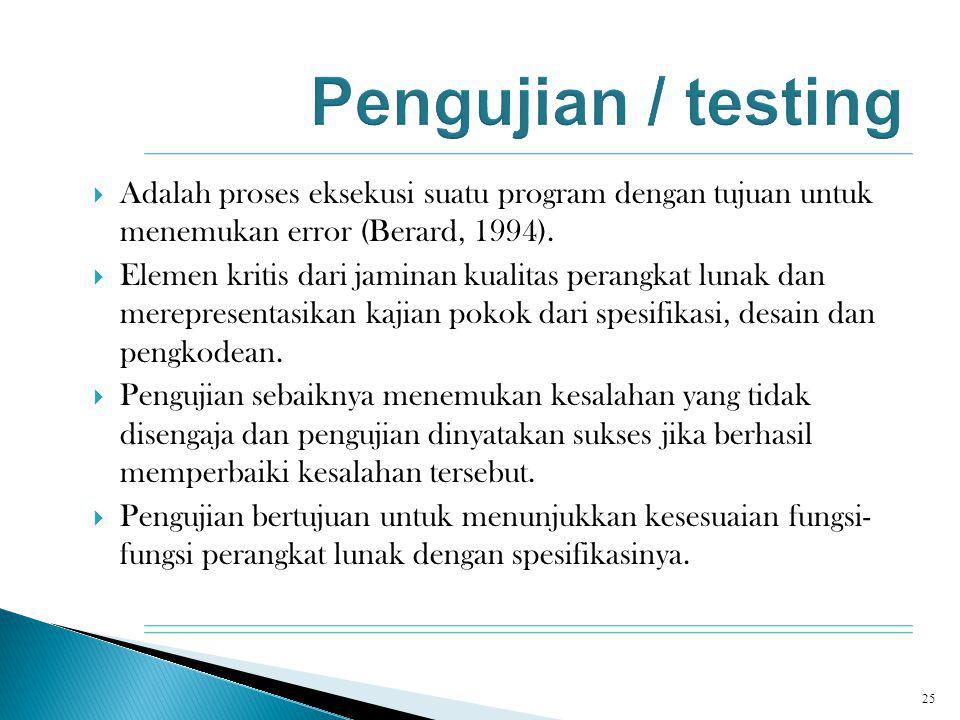  Adalah proses eksekusi suatu program dengan tujuan untuk menemukan error (Berard, 1994).  Elemen kritis dari jaminan kualitas perangkat lunak dan m