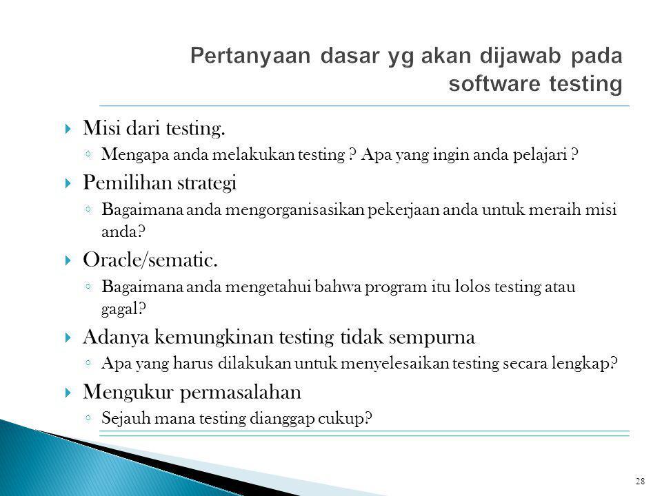  Misi dari testing. ◦ Mengapa anda melakukan testing ? Apa yang ingin anda pelajari ?  Pemilihan strategi ◦ Bagaimana anda mengorganisasikan pekerja
