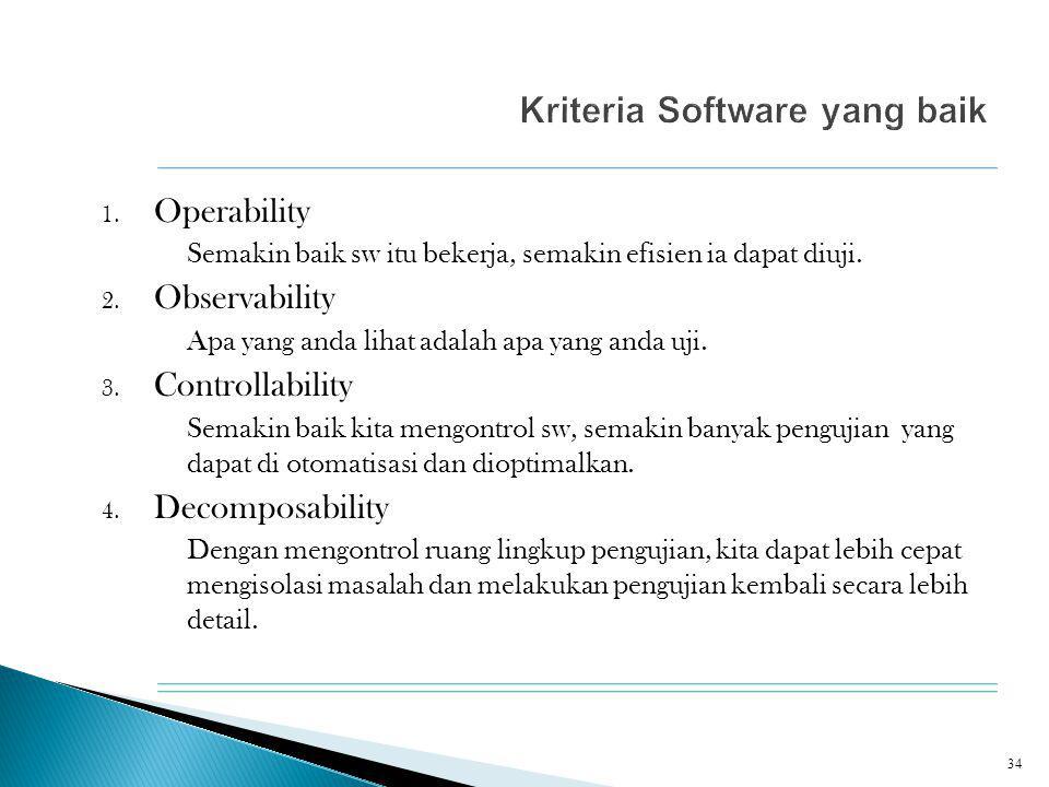 1. Operability Semakin baik sw itu bekerja, semakin efisien ia dapat diuji.