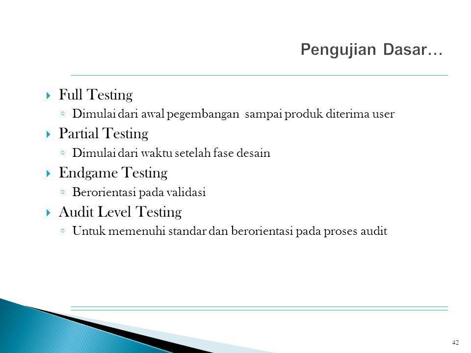  Full Testing ◦ Dimulai dari awal pegembangan sampai produk diterima user  Partial Testing ◦ Dimulai dari waktu setelah fase desain  Endgame Testin
