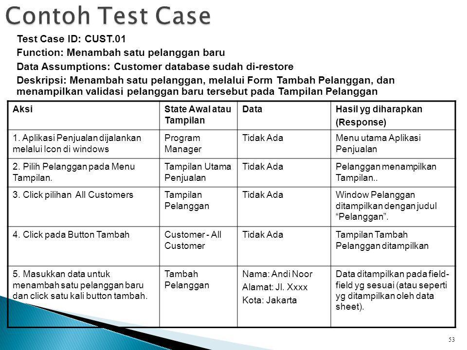 53 Test Case ID: CUST.01 Function: Menambah satu pelanggan baru Data Assumptions: Customer database sudah di-restore Deskripsi: Menambah satu pelanggan, melalui Form Tambah Pelanggan, dan menampilkan validasi pelanggan baru tersebut pada Tampilan Pelanggan AksiState Awal atau Tampilan DataHasil yg diharapkan (Response) 1.