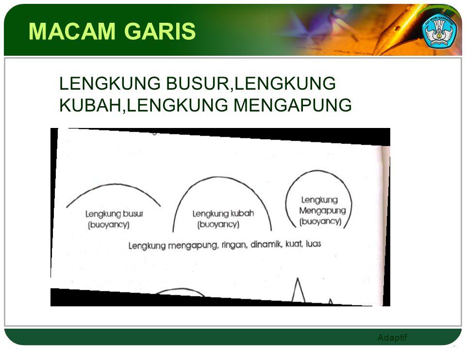 Adaptif MACAM GARIS  horizontal, vertikal, diagonal,
