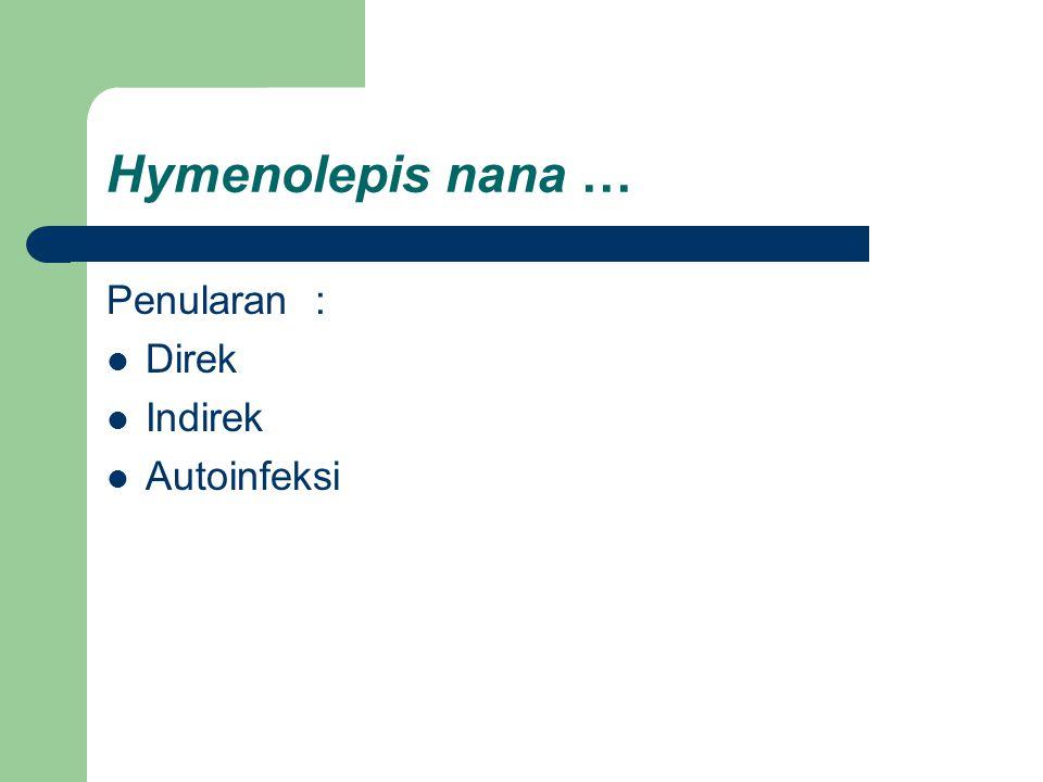 Hymenolepis nana … Penularan: Direk Indirek Autoinfeksi