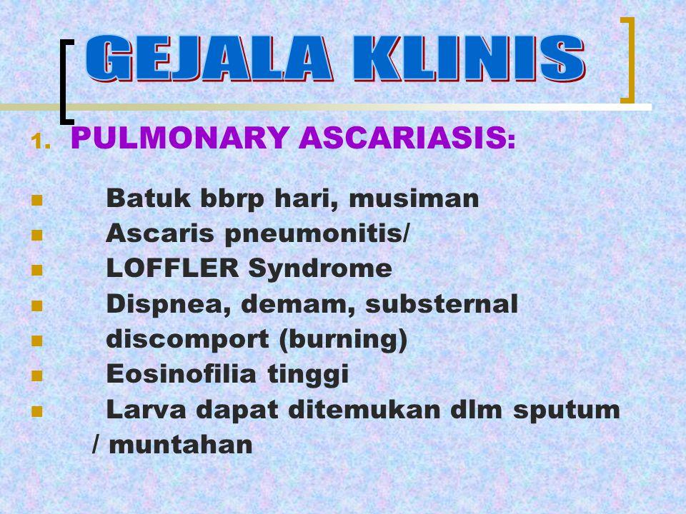1. PULMONARY ASCARIASIS : Batuk bbrp hari, musiman Ascaris pneumonitis/ LOFFLER Syndrome Dispnea, demam, substernal discomport (burning) Eosinofilia t