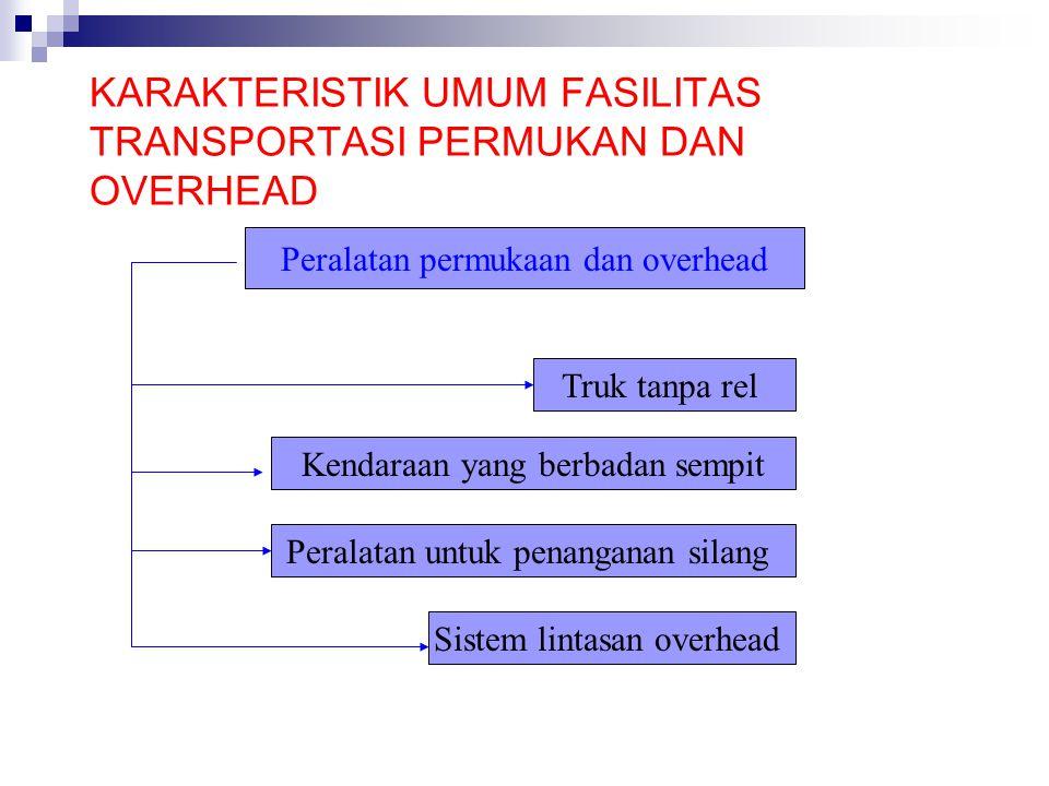 PERLENGKAPAN KHUSUS PERMUKAAN DAN OVERHEAD Truk tanpa rel adalah fasilitas transportasi permukaan yang bergerak diatas jalur rel yang sempit Kendaraan