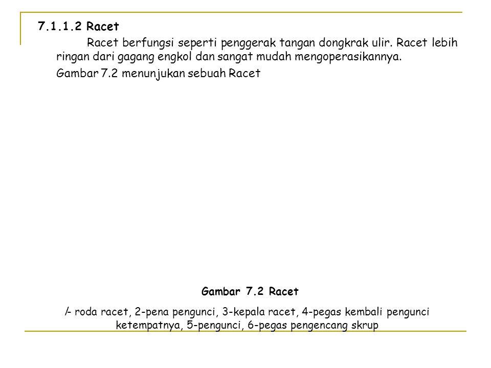 Tabel 7.2 Kerja maksimum setiap orang, dalam kg Periode operasi Pada gagang kemudi Pada rantai penarik Pada pedal katrol Pada batang katrol Operasi te