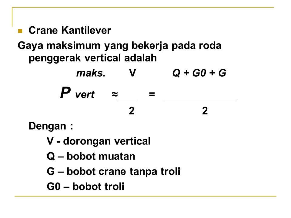 Gaya maksimum yang bekerja pada roda penggerak crane beroda empat : G Q + G0 L – e Pmaks ≈ + 4 2 L Crane Gantri (portal) Mekanisme penggerak crane ini