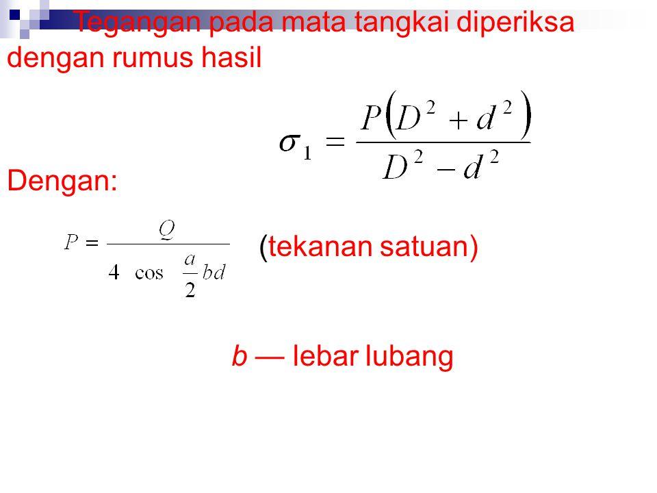 Factor x untuk ellips didapat dengan rumus Dengan: a — luas penampang