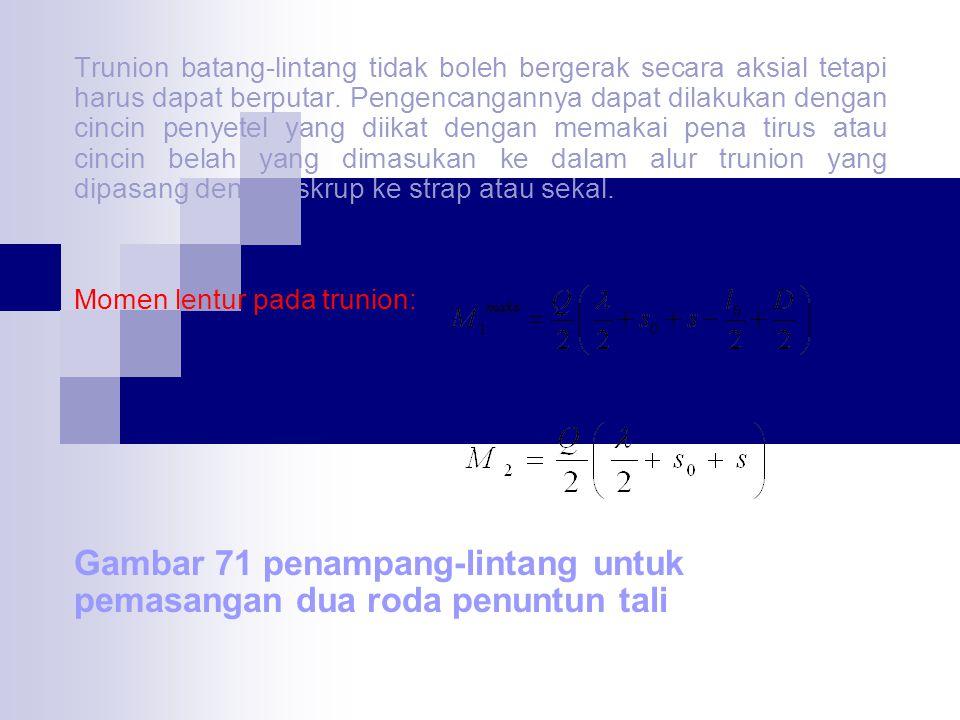 Tegangan lentur aman  lentur = 600 – 1000 Kg/cm 2 Momen lentur pada trunion batang-lintang : Tekanan satuan antara trunion dan rumah Dengan : s = tabel sakel s 1 = tabel pelat samping