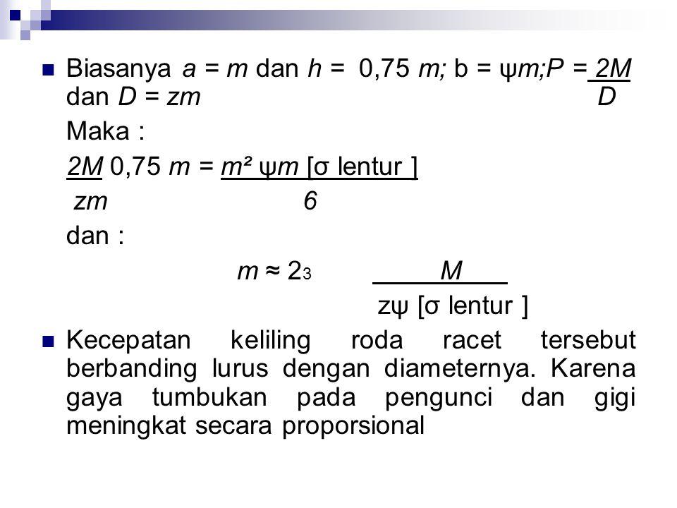 M = momen gaya yang ditransmisikan dalam kg – cm. z = jumlah gigi [σ lentur ] = tegangan lentur aman Rumus (95) (lihat gambar 109b) diturunkan sebagai