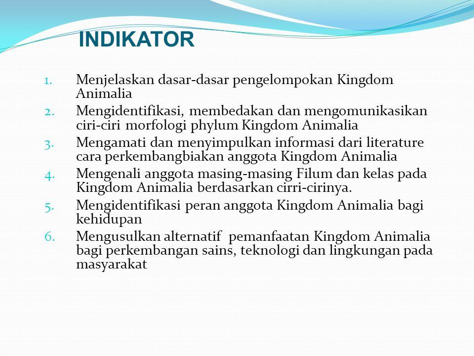 INDIKATOR 1.Menjelaskan dasar-dasar pengelompokan Kingdom Animalia 2.
