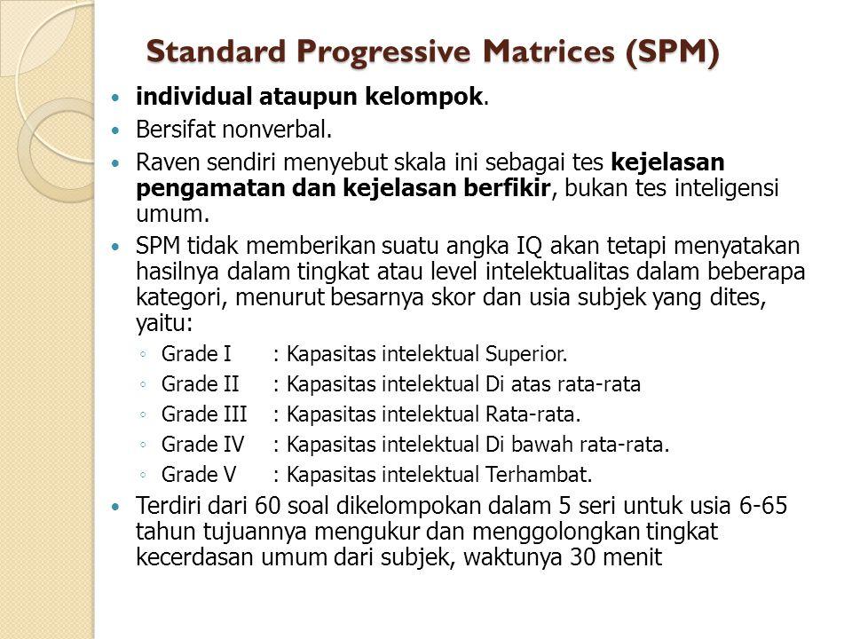 Standard Progressive Matrices (SPM) individual ataupun kelompok.
