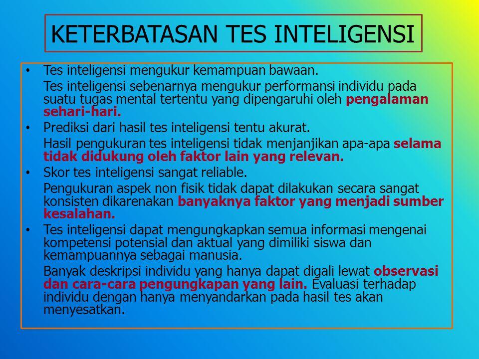KETERBATASAN TES INTELIGENSI Tes inteligensi mengukur kemampuan bawaan.