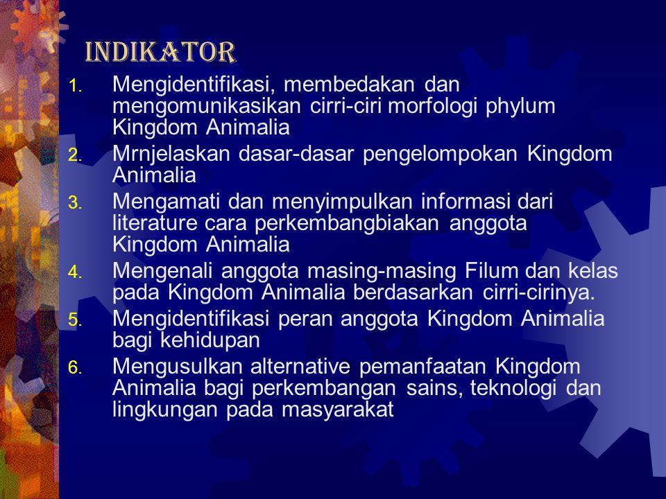 INDIKATOR 1. Mengidentifikasi, membedakan dan mengomunikasikan cirri-ciri morfologi phylum Kingdom Animalia 2. Mrnjelaskan dasar-dasar pengelompokan K