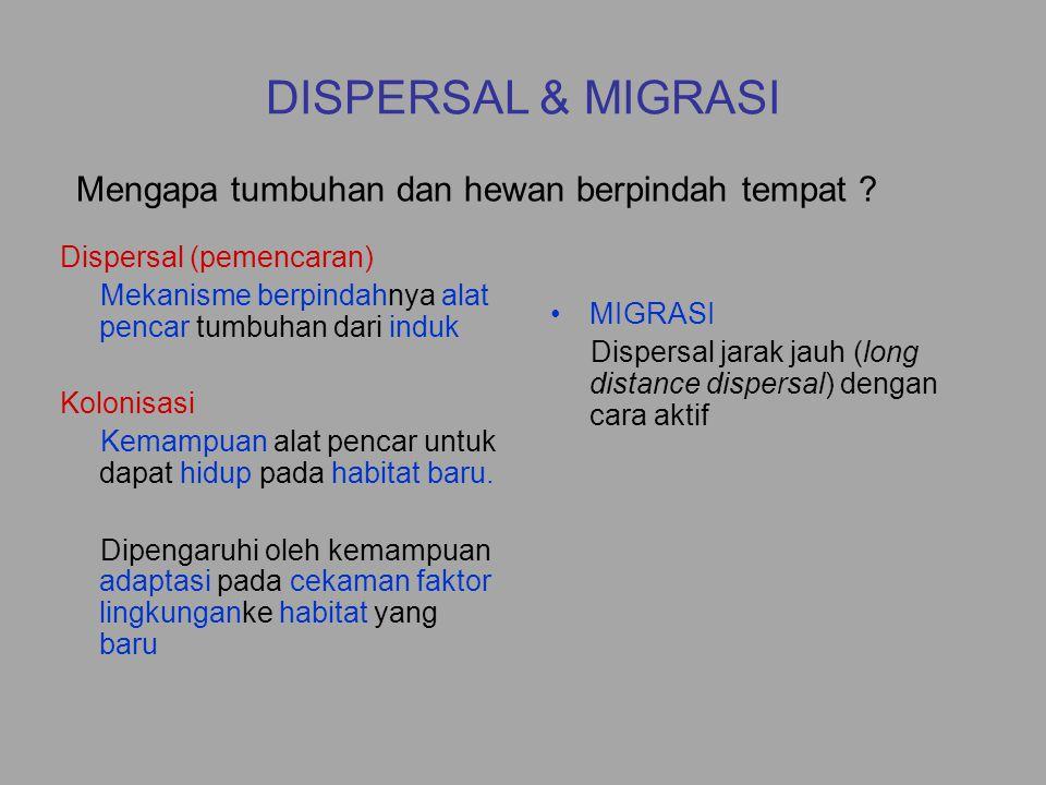 DISPERSAL & MIGRASI Dispersal (pemencaran) Mekanisme berpindahnya alat pencar tumbuhan dari induk Kolonisasi Kemampuan alat pencar untuk dapat hidup p