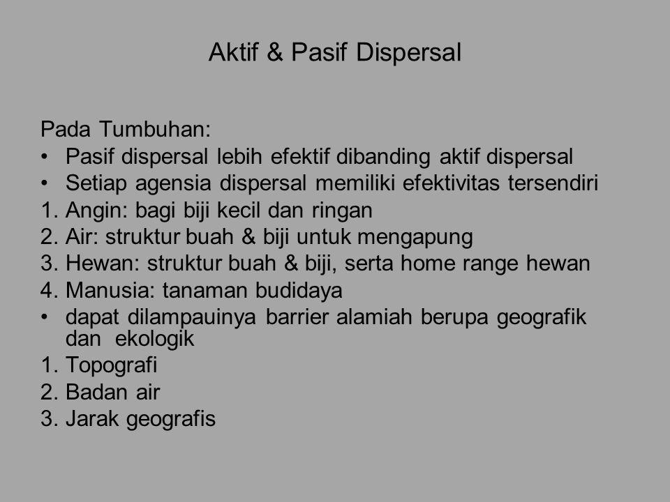 Aktif & Pasif Dispersal Pada Tumbuhan: Pasif dispersal lebih efektif dibanding aktif dispersal Setiap agensia dispersal memiliki efektivitas tersendir