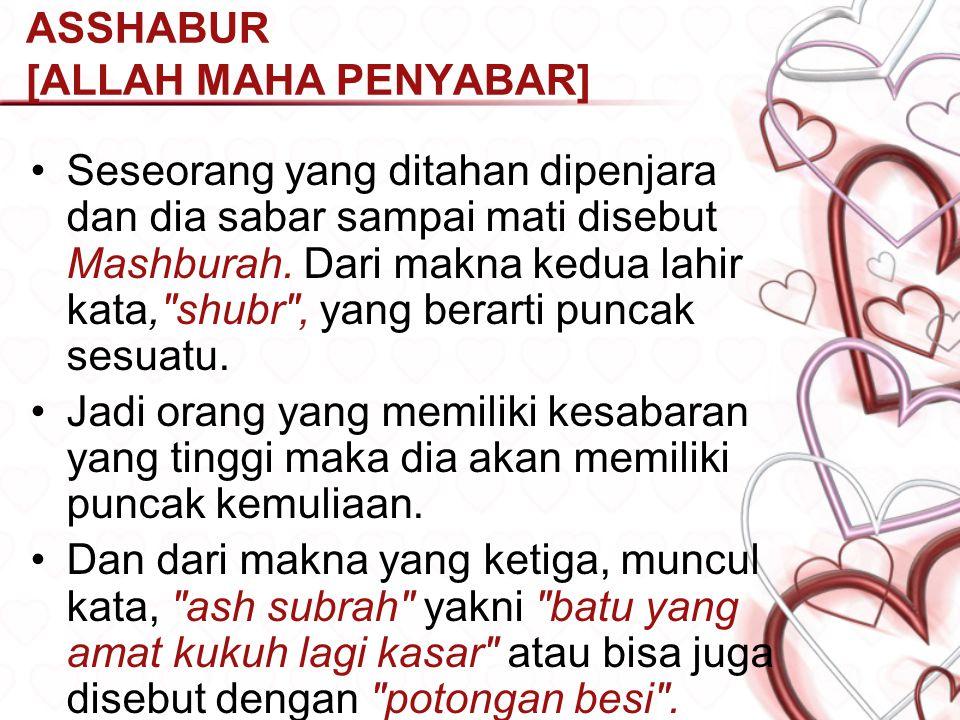 ASSHABUR [ALLAH MAHA PENYABAR] Menurut Bp. Quraish Shihab dalam bukunya