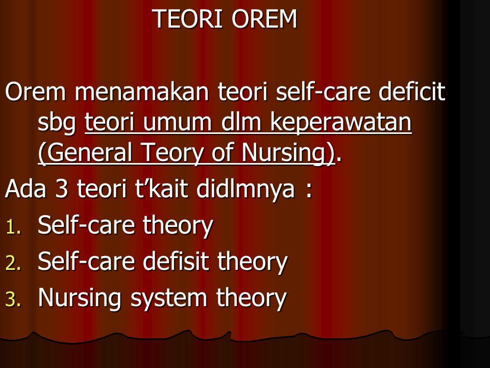 TEORI OREM Orem menamakan teori self-care deficit sbg teori umum dlm keperawatan (General Teory of Nursing). Ada 3 teori t'kait didlmnya : 1. Self-car