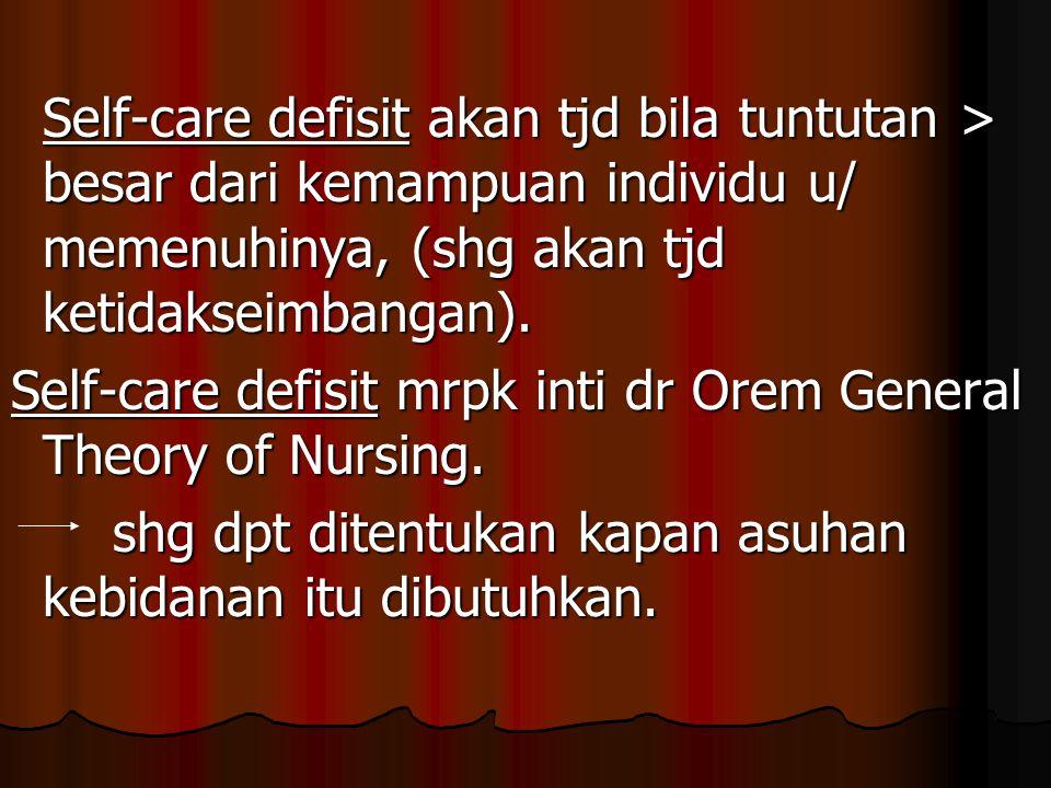 Self-care defisit akan tjd bila tuntutan > besar dari kemampuan individu u/ memenuhinya, (shg akan tjd ketidakseimbangan). Self-care defisit mrpk inti