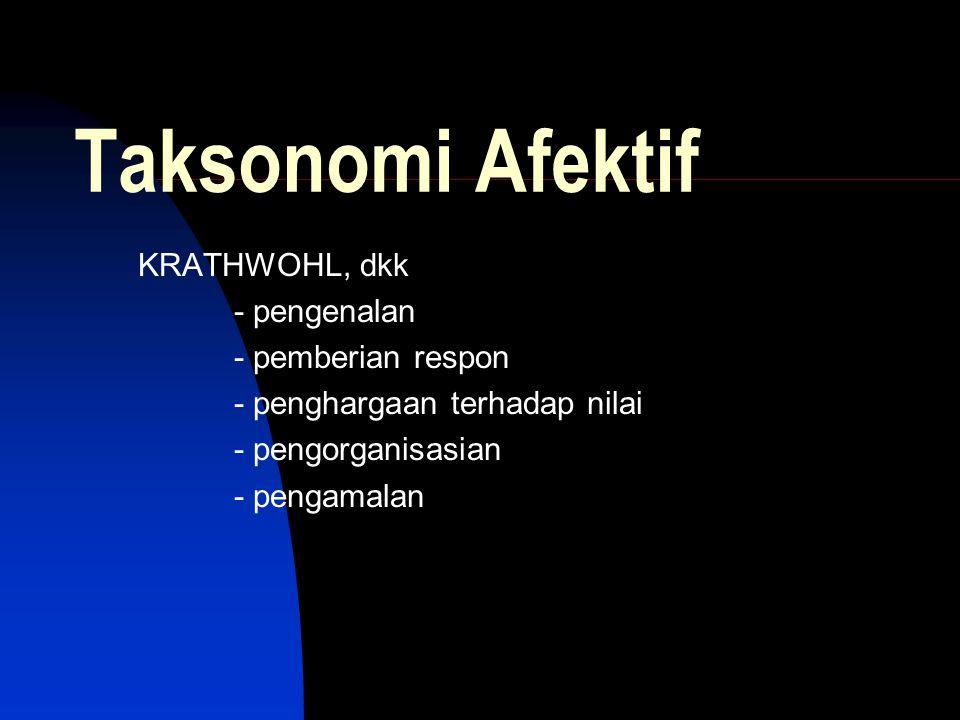 Taksonomi Afektif KRATHWOHL, dkk - pengenalan - pemberian respon - penghargaan terhadap nilai - pengorganisasian - pengamalan