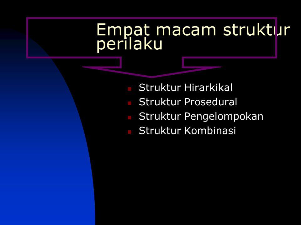 Empat macam struktur perilaku Struktur Hirarkikal Struktur Prosedural Struktur Pengelompokan Struktur Kombinasi