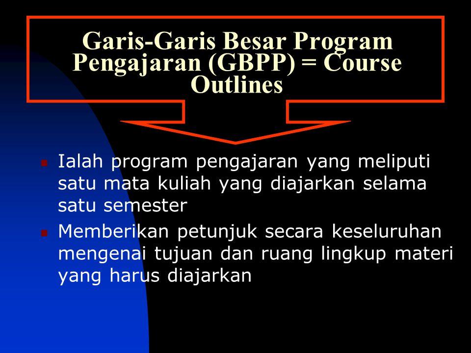 Garis-Garis Besar Program Pengajaran (GBPP) = Course Outlines Ialah program pengajaran yang meliputi satu mata kuliah yang diajarkan selama satu semester Memberikan petunjuk secara keseluruhan mengenai tujuan dan ruang lingkup materi yang harus diajarkan