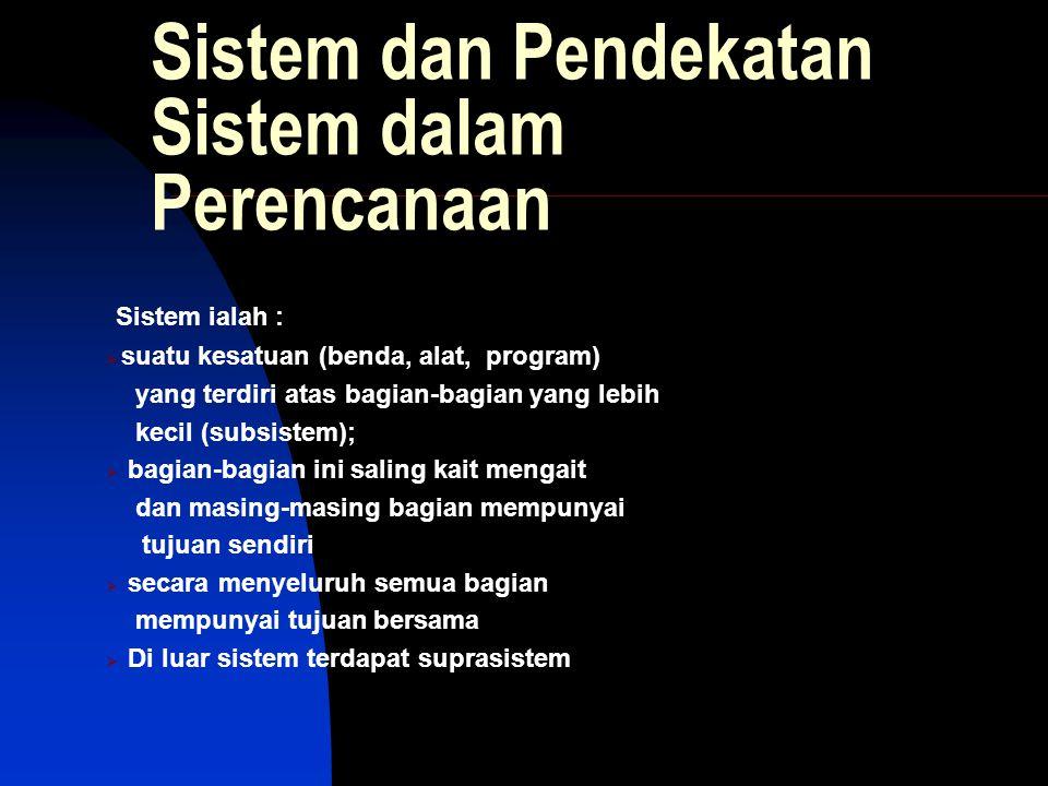 Sistem dan Pendekatan Sistem dalam Perencanaan Sistem ialah :  suatu kesatuan (benda, alat, program) yang terdiri atas bagian-bagian yang lebih kecil (subsistem);  bagian-bagian ini saling kait mengait dan masing-masing bagian mempunyai tujuan sendiri  secara menyeluruh semua bagian mempunyai tujuan bersama  Di luar sistem terdapat suprasistem