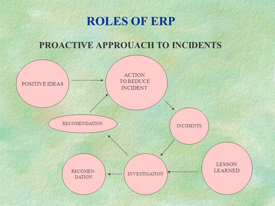 ROLES OF ERP PROACTIVE APPROUACH TO INCIDENTS INCIDENTS INVESTIGATION RECOMENDATION POSITIVE IDEAS RECOMEN- DATION ACTION TO REDUCE INCIDENT LESSON LE