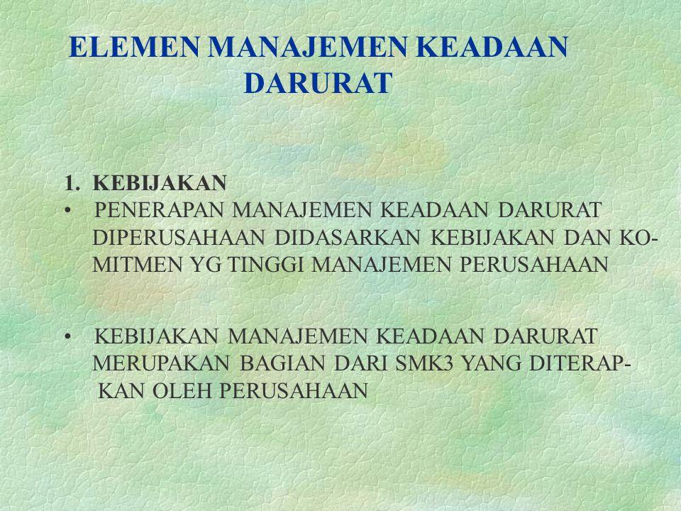 ELEMEN MANAJEMEN KEADAAN DARURAT 1.