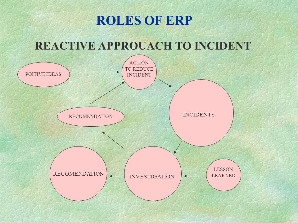 ROLES OF ERP PROACTIVE APPROUACH TO INCIDENTS INCIDENTS INVESTIGATION RECOMENDATION POSITIVE IDEAS RECOMEN- DATION ACTION TO REDUCE INCIDENT LESSON LEARNED