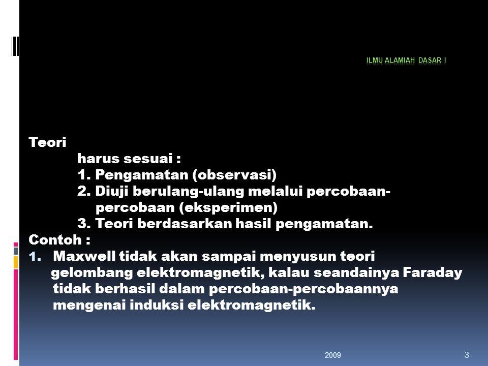 2009 3 Teori harus sesuai : 1.Pengamatan (observasi) 2.