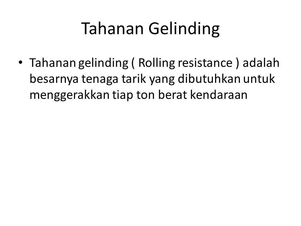 Tahanan Gelinding Tahanan gelinding ( Rolling resistance ) adalah besarnya tenaga tarik yang dibutuhkan untuk menggerakkan tiap ton berat kendaraan