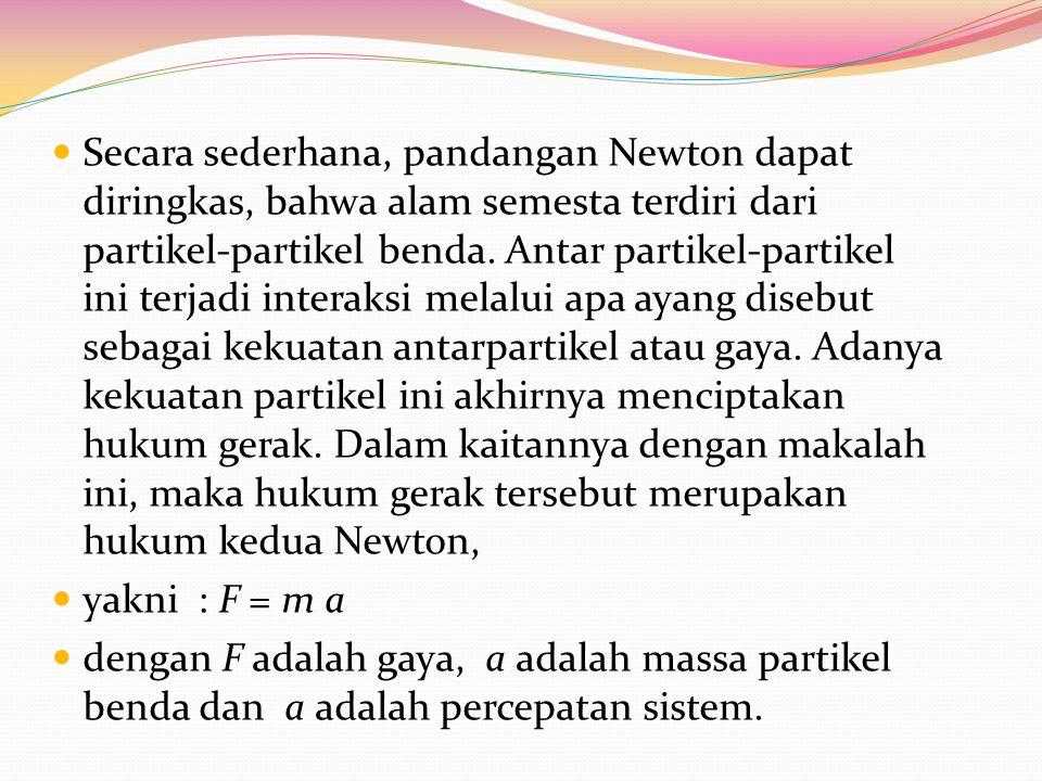 Secara sederhana, pandangan Newton dapat diringkas, bahwa alam semesta terdiri dari partikel-partikel benda. Antar partikel-partikel ini terjadi inter