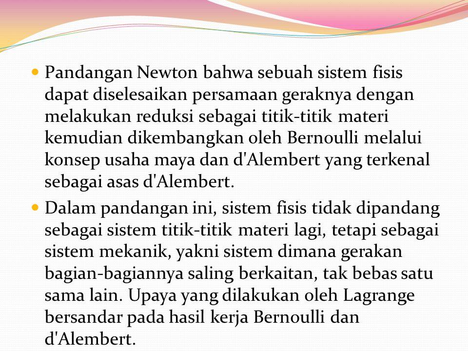 Pandangan Newton bahwa sebuah sistem fisis dapat diselesaikan persamaan geraknya dengan melakukan reduksi sebagai titik-titik materi kemudian dikemban