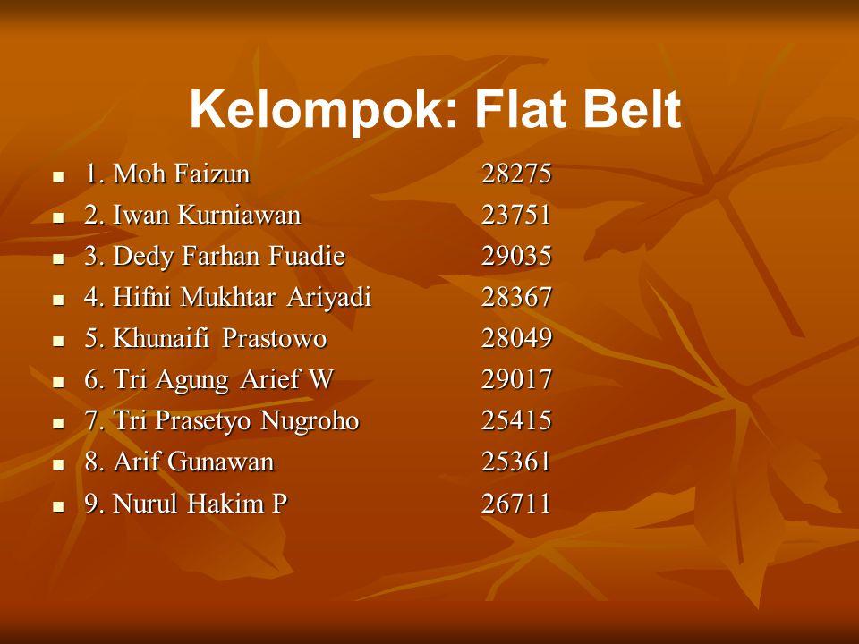 Kelompok: Flat Belt 1. Moh Faizun28275 1. Moh Faizun28275 2. Iwan Kurniawan23751 2. Iwan Kurniawan23751 3. Dedy Farhan Fuadie29035 3. Dedy Farhan Fuad
