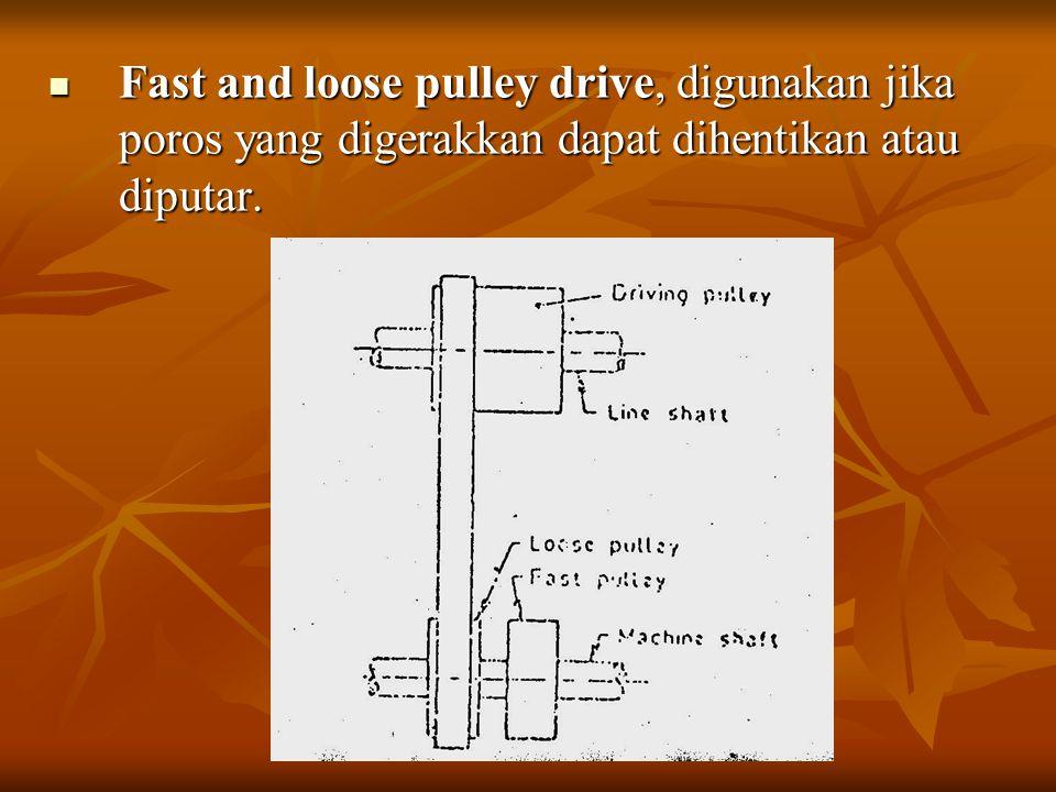 Fast and loose pulley drive, digunakan jika poros yang digerakkan dapat dihentikan atau diputar. Fast and loose pulley drive, digunakan jika poros yan