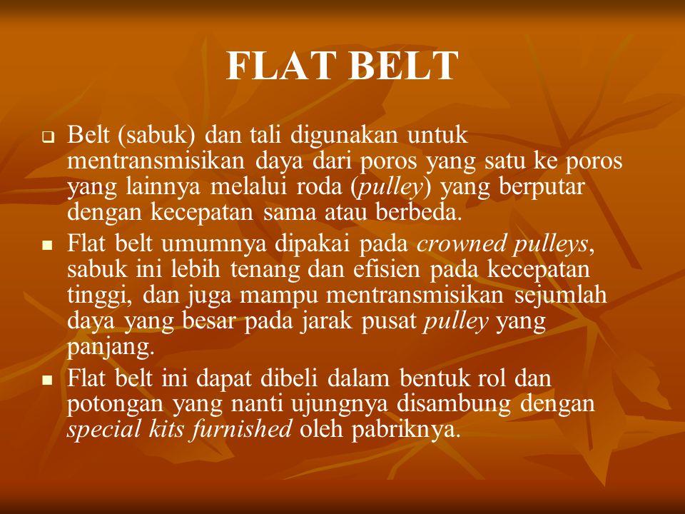 FLAT BELT   Belt (sabuk) dan tali digunakan untuk mentransmisikan daya dari poros yang satu ke poros yang lainnya melalui roda (pulley) yang berputa